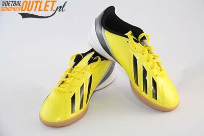 Adidas Adizero F10 geel kids (IC) zaalschoen voor- en zijkant (G65333)