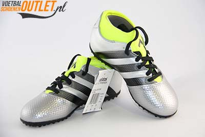 Adidas Ace 16.3 zilver kids (TF) voor- en zijkant(AQ3433)