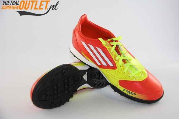 Adidas Adizero F10 geel oranje kids (TF) voor- en onderkant (V24000)