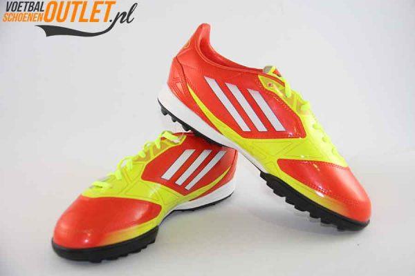Adidas Adizero F10 geel oranje kids (TF) voor- en zijkant (V24000)