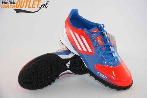 Adidas Adizero F10 rood blauw kids (TF) voor- en onderkant (V21338)