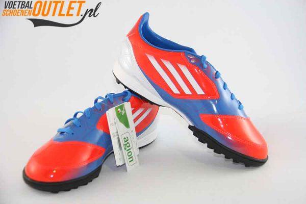 Adidas Adizero F10 rood blauw kids (TF) voor- en zijkant (V21338)
