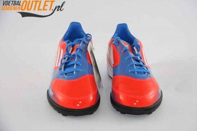 Adidas Adizero F10 rood blauw kids (TF) voorkant (V21338)