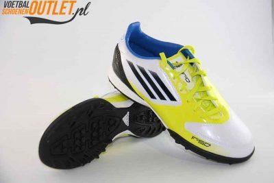 Adidas Adizero F10 wit geel kids (TF) voor- en onderkant (V21341)