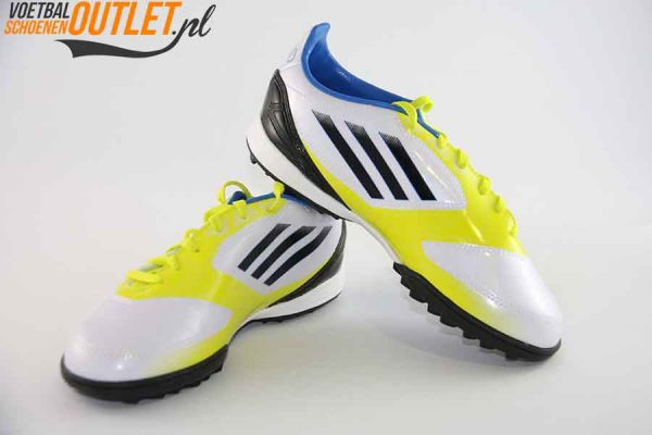 Adidas Adizero F10 wit geel kids (TF) voor- en zijkant (V21341)