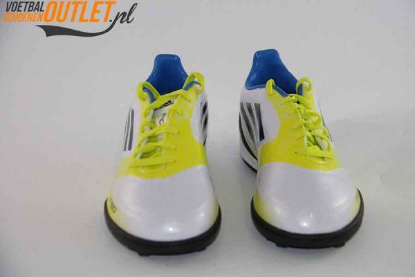 Adidas Adizero F10 wit geel kids (TF) voorkant (V21341)