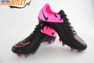 Nike Mercurial Vapor Leer zwart roze schroefnop voor- en zijkant (747598-006)
