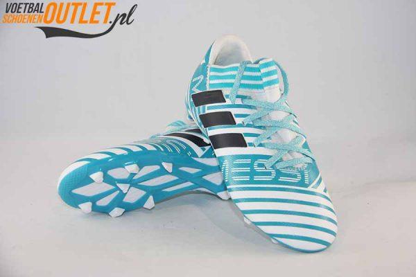 Adidas Nemeziz Messi 17.3 blauw wit kids voor- en onderkant (BY2411)