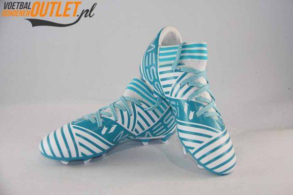Adidas Nemeziz Messi 17.3 blauw wit kids voor- en zijkant (BY2411)