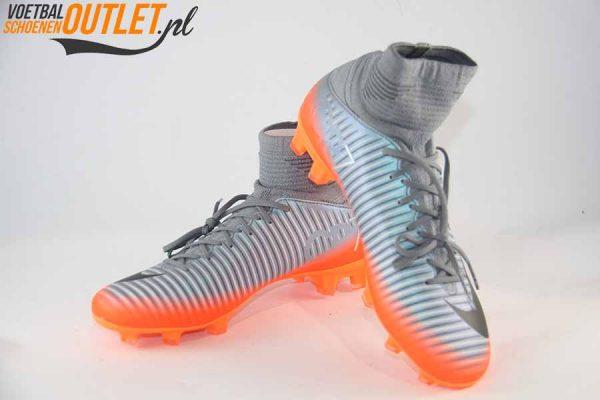 Nike Mercurial Superfly kids grijs oranje voor- en zijkant (852483-001)