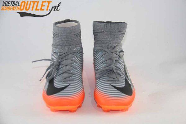 Nike Mercurial Superfly kids grijs oranje voorkant (852483-001)