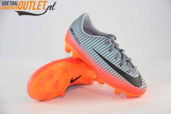 Nike Mercurial Victory grijs oranje kids voor- en onderkant (852389-001)