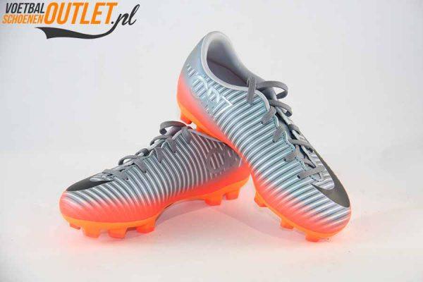 Nike Mercurial Victory grijs oranje kids voor- en zijkant (852389-001)