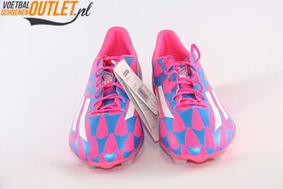 Adidas Adizero F10 blauw roze voorkant (M17608)