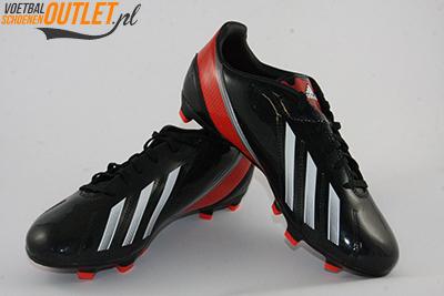 Adidas Adizero F10 zwart rood voor- en zijkant (Q33869)